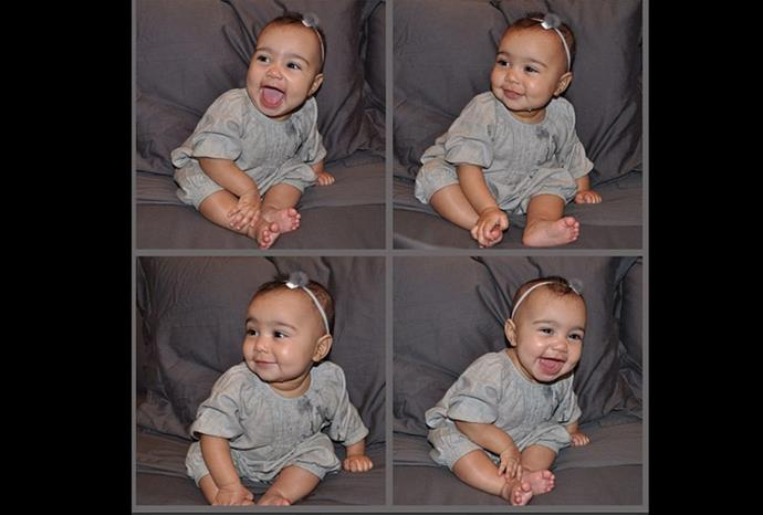 Super cute baby North poses for the camera.
