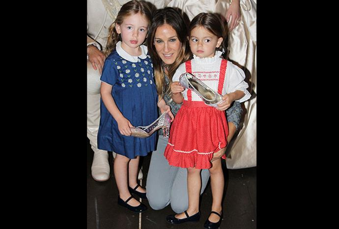 We bet SJP's twins can't wait to wear heels just like their mum!