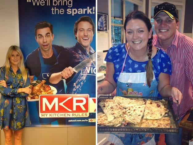 There's nothing like a giant MKR poster to make you feel tiny, and Annie and Jason serve up some cheesy home cooking.