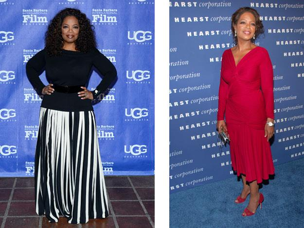 The spotlight shone on Oprah as her size went up, up, up and then down, down, down.