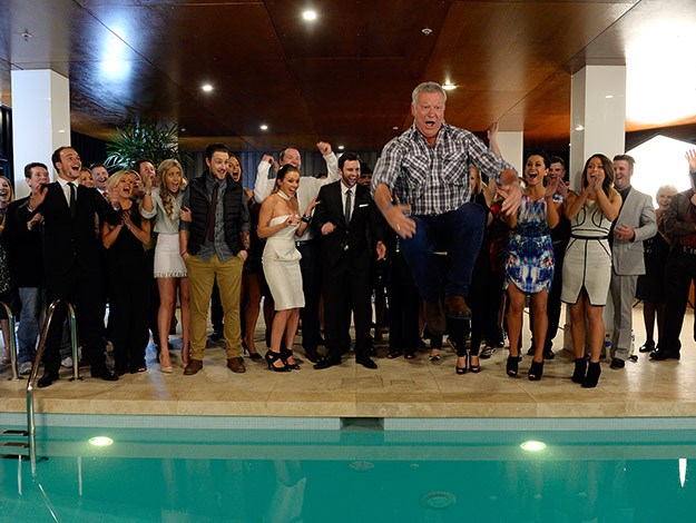 Host Scott Cam finishes up the night by jumping in the pool.