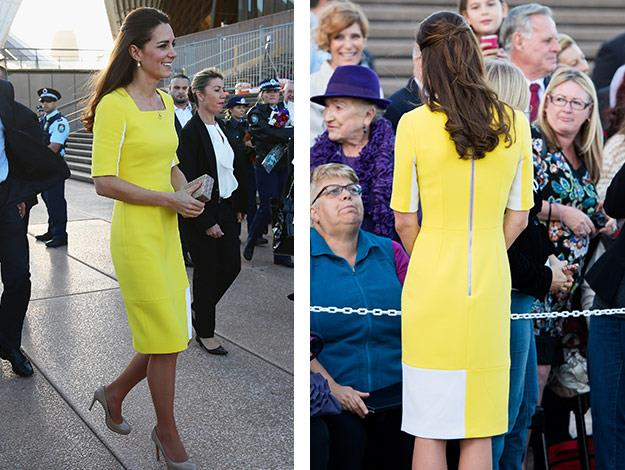 Catherine arrived in Sydney wearing a sunny yellow dress by Roksanda Ilincic, a London-based Serbian fashion designer.