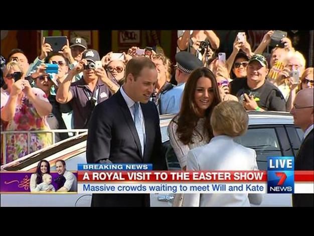 The Royal couple chat easily in front of the huge crowds. Photo: Twitter