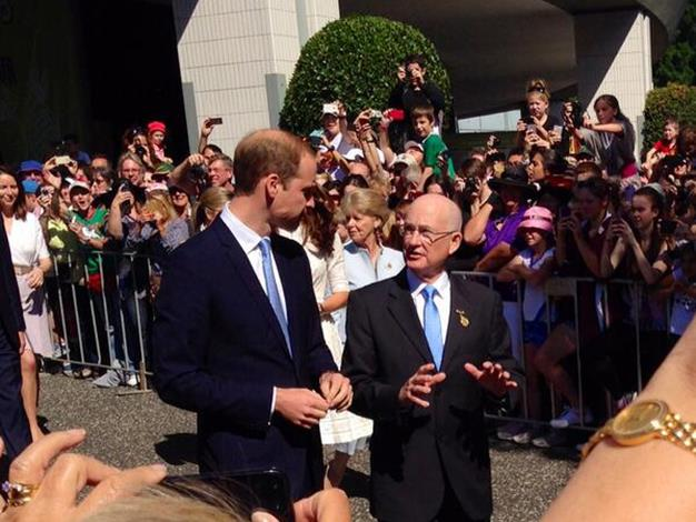 RAS President Glenn Dudley talks to Prince William. Photo: Twitter
