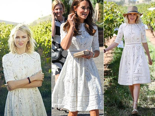 The cream lace number has previously been modeled by Naomi Watts and retails for $495.