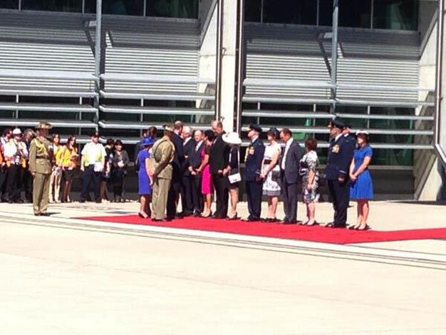Dignitaries including Queensland Premier Campbell Newman meet Prince William and Catherine. Photo: @gbreusch via Twitter
