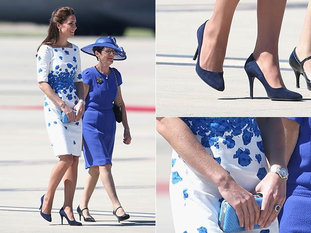 Kate paired the dress with navy blue L.K. Bennett court shoes and a bright blue clutch. Photos: Getty Images