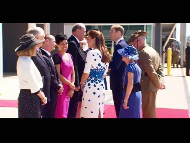 The Royals meet the Queensland Premier and other members of the official party. Photo: @9NewsAUS via Twitter
