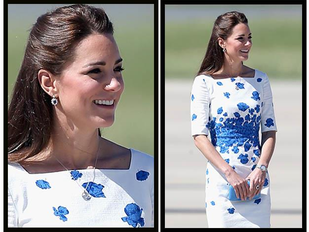 The Duchess of Cambridge looks dazzling as she steps onto the tarmac at the RAAF Base Amberley. Photos: Getty Images
