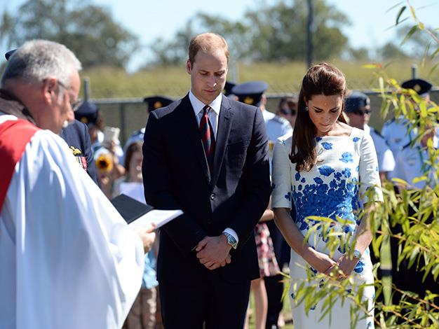 Kate and Wills at the RAAF Base Amberley Memorial Garden. Photo: Getty Images