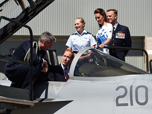 The Royals inspect an RAAF F/A-18 Super Hornet. Photo: Getty Images