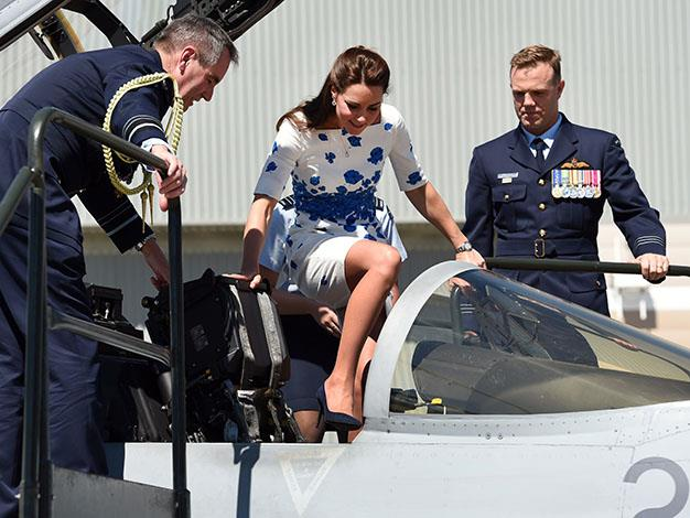 The Duchess hops into the cockpit of the F/A-18 Super Hornet. Photo: Getty Images