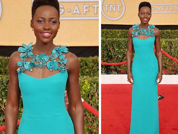 Lupita Nyong'o was a stand out at the SAG Awards in her one-of-a-kind Turquoise Gucci gown.