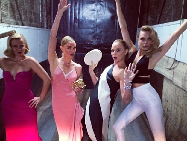 Supermodel Cara Delevigne, actress Reese Witherspoon and Kate Bosworth pose with fashion designer, Stella McCartney.