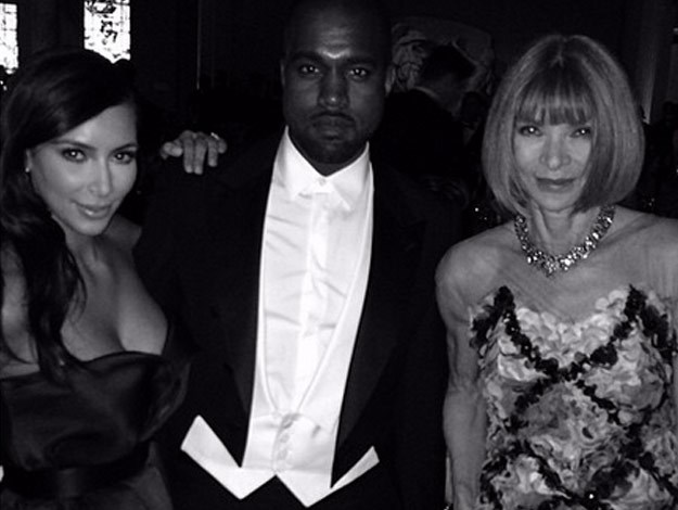 Kimmy K went instagram crazy while at the Met Gala, posting a series of black and white photos from the event which included this one of herself, Kanye and Vogue editor-in-chief, Anna Wintour.