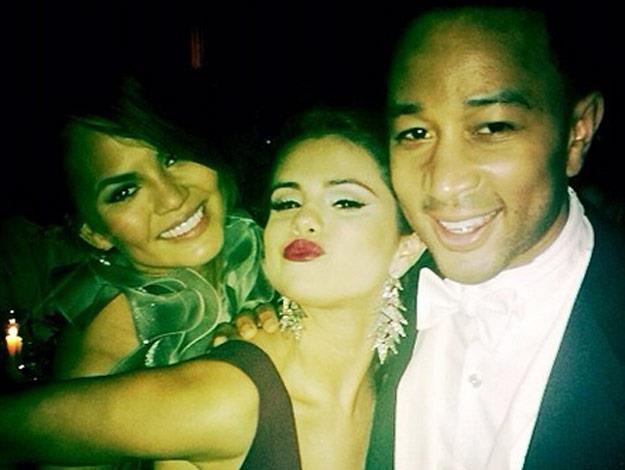 Selena Gomez with John Legend and his wife Chrissy Teigen at the Met Gala, 2014.