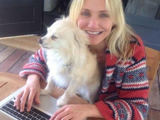 It's puppy love! Cameron Diaz likes nothing more than to relax with her adorable pooch.