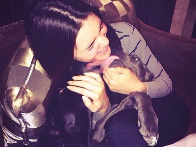 Kendall Jenner with her Great Dane puppy.