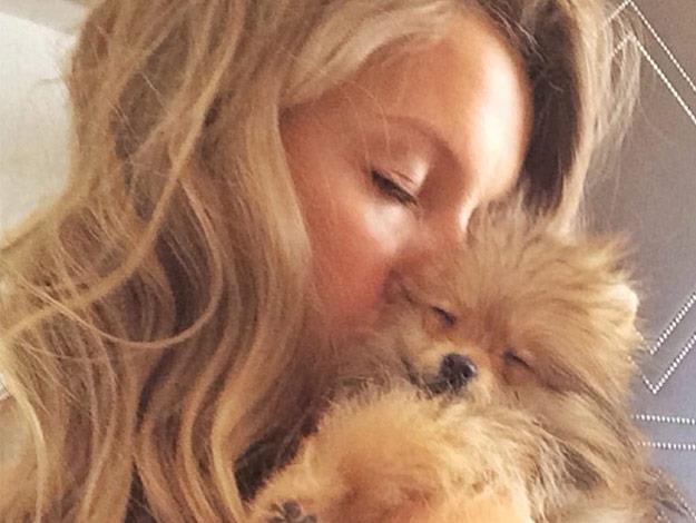 Gisele Bündchen and her puppy.