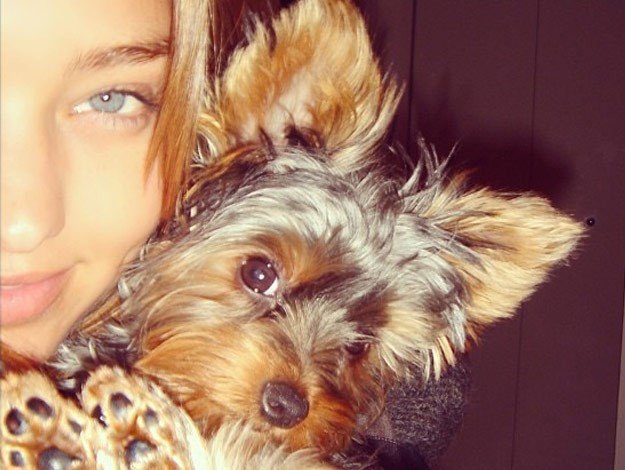 Supermodel Miranda Kerr and her adorable canine companion, Frankie.