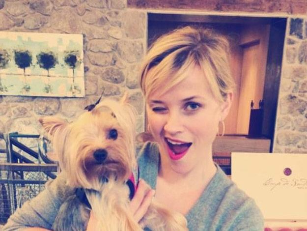 Reese Witherspoon with new friend, Riley.