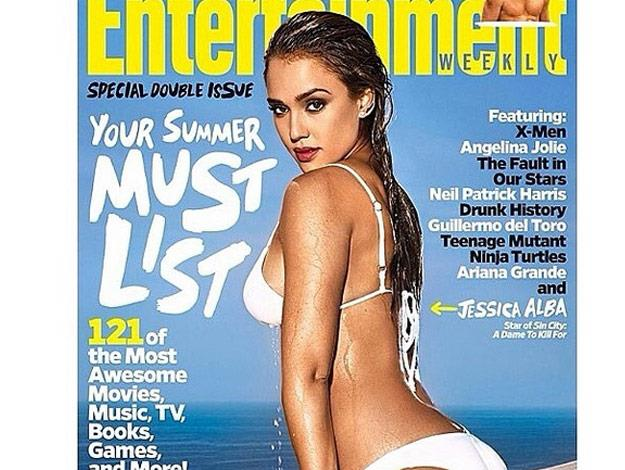Jessica Alba wears a wet, white bikini on the new cover of Entertainment Weekly.