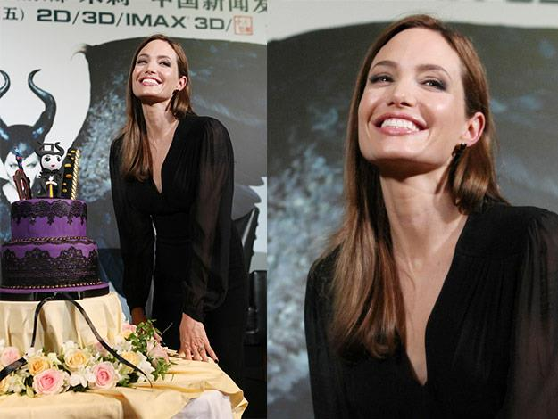 The stunning actress was all smiles as crew members and media sang Happy Birthday to her.