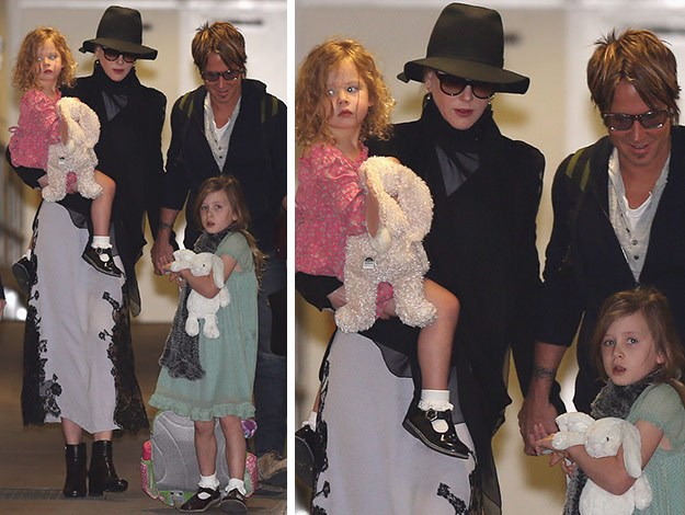 Nicole covered up in a dark hat and sunglasses while her daughters wore pretty pastel colours.