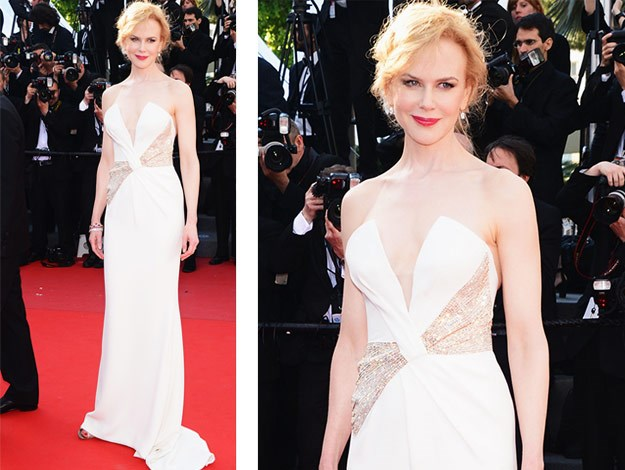 Giorgio Armani custom made bustier white silk cady gown at Cannes in 2013.