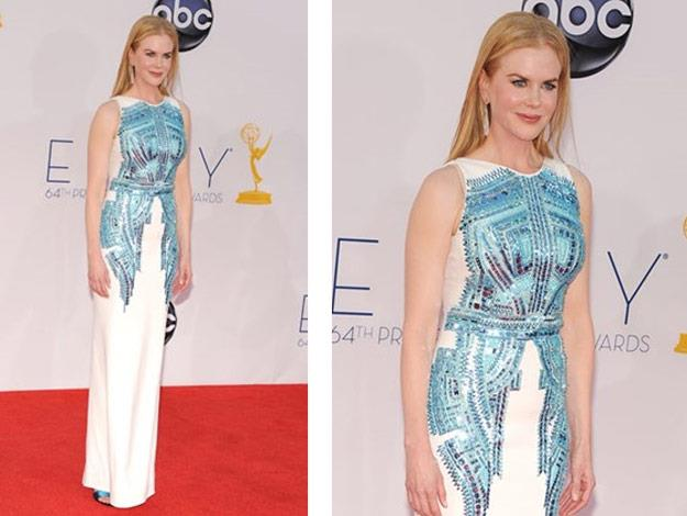 At the 2012 Emmy Awards Nicole wore an Antonio Berardi white column dress.