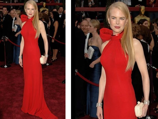 Nicole at the 2007 Oscars wearing a gorgeous scarlet Balenciaga gown.