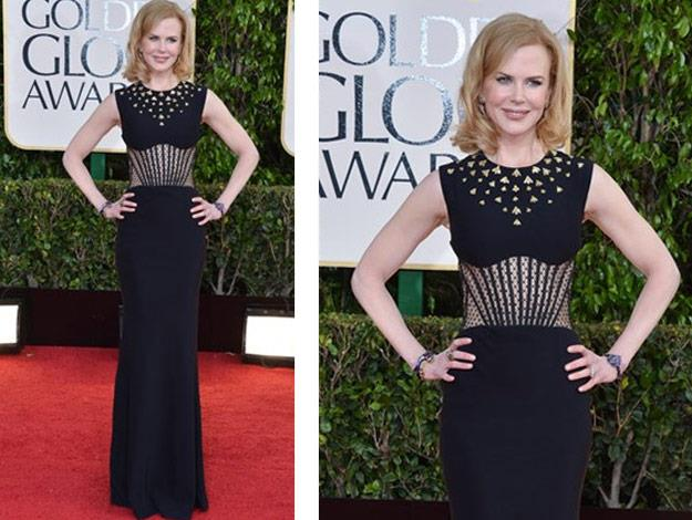 Nicole at the 2013 Golden Globes in a Alexander Mqueen shapely gown.