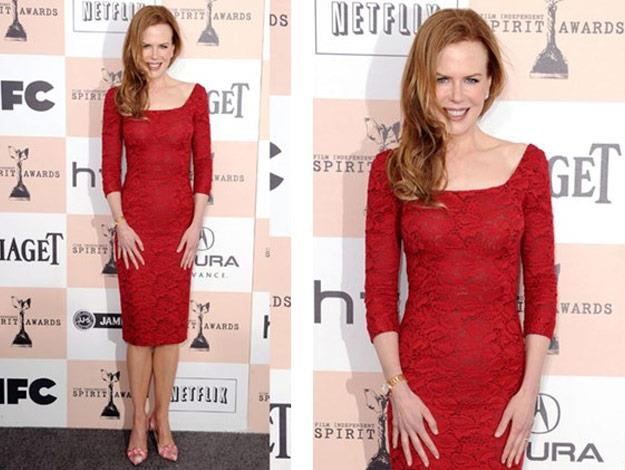 At the 2011 Independent Spirit Awards Nicole wore a L'Wren Scott Red Hot Dress.