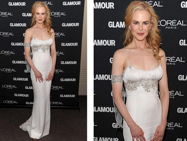 Nicole wears a white embellished L'Wren Scott dress.
