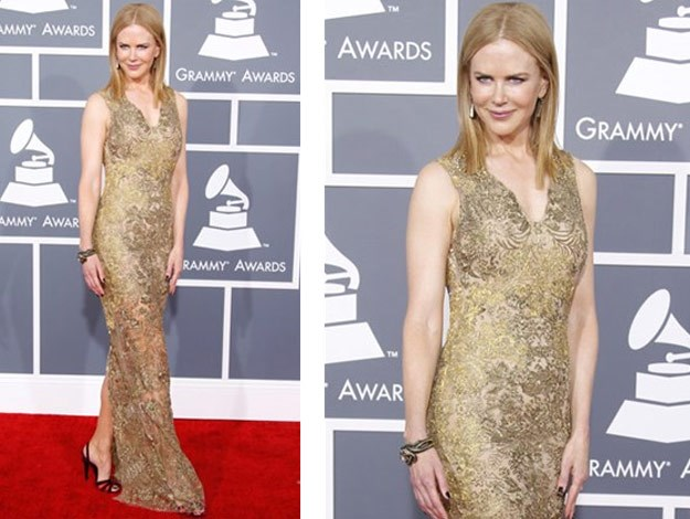 Nicole at the 2013 Grammy Awards wearing a golden Vera Wang gown.