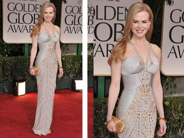 Nicole at the Golden Globes 2012 in a body hugging Versace studded gown.