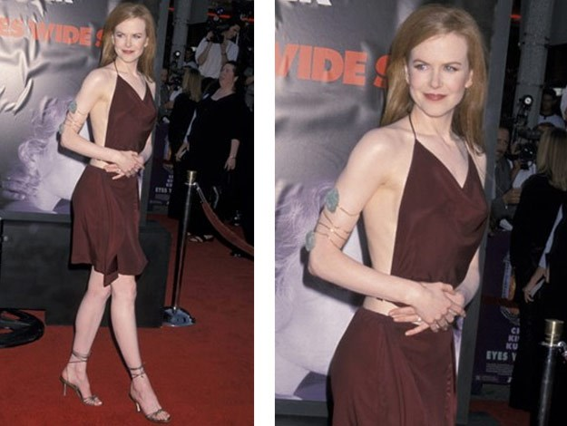 At her 'Eyes Wide Shut' Premiere, Nicole wore two piece velvet red ensemble.