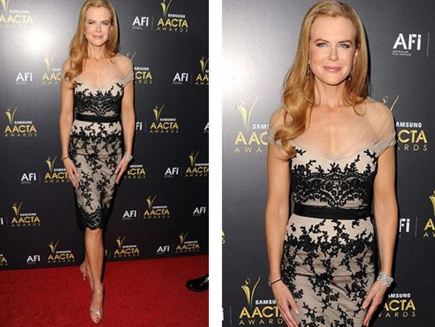 Nicole wearing a Collette Dinnigan cocktail styled dress to the 2012 AACTA Awards.