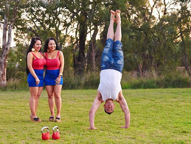 The twins watch their fitness fanatic boyfriend Ben work out.