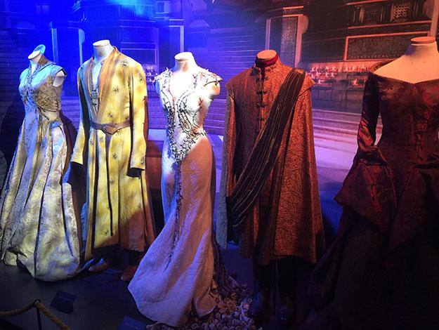 A line-up of costumes from Kings Landing