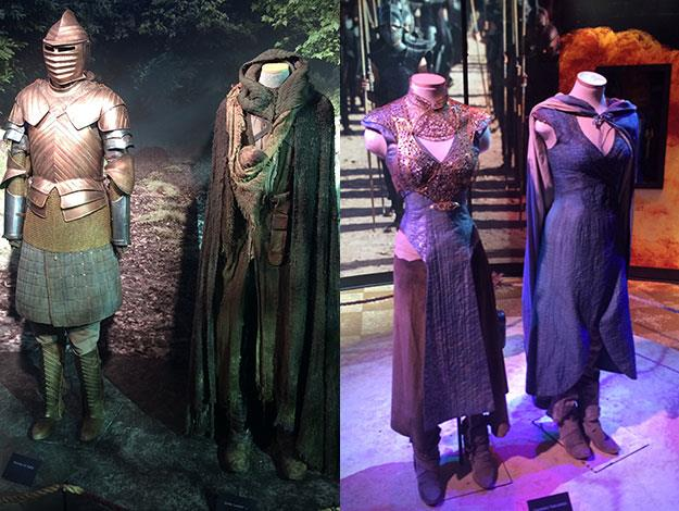 On the left: The costumes of Brienne of Tarth and Jamie Lannister (minus his hand). On the right: costumes of Daenerys Targaryen - it seems the Khaleesi is quite petite in real life
