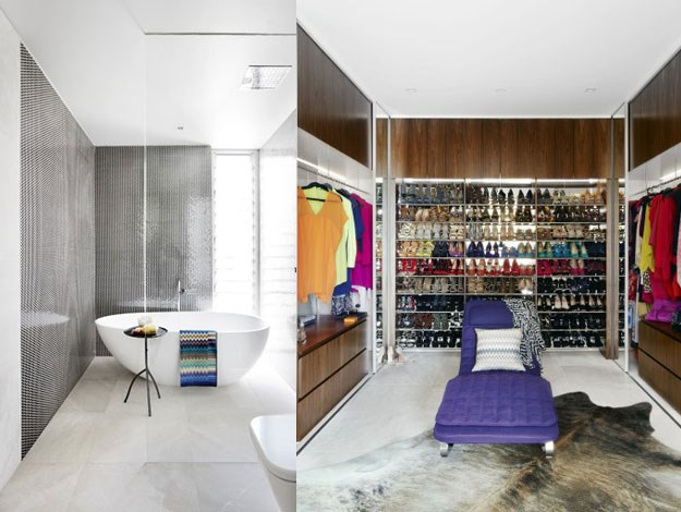 Property features include minimal, natural-toned interiors and a huge walk-in wardrobe (no doubt filled with a highly impressive designer clothing collection)