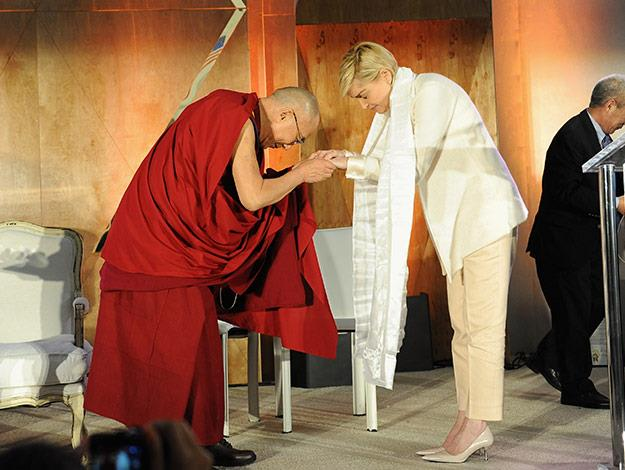 Sharon Stone with the Dalai Lama.