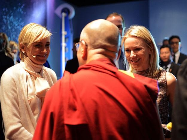 Actress Sharon Stone and Naomi Watts meet his holiness the 14th Dalai Lama.