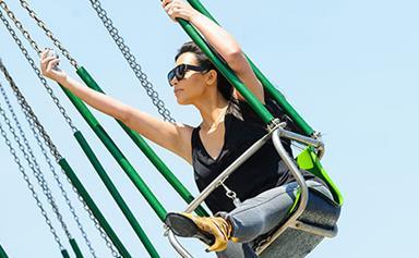 Kim Kardashian snaps sky high selfie at the fair