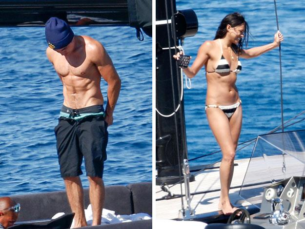 It didn't take long though before they stripped off on board the boat and showed off what an amazing pair of bodies they have.