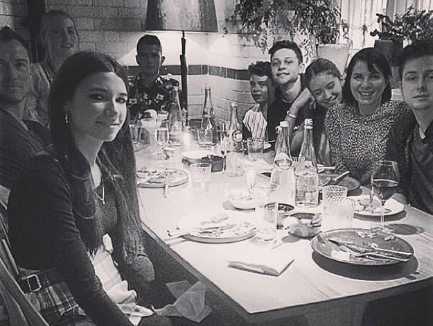Raff posted this snap at a family dinner of his whole family including parents Jude Law and Sadie Frost, who have been divorced for some time but still remain close.