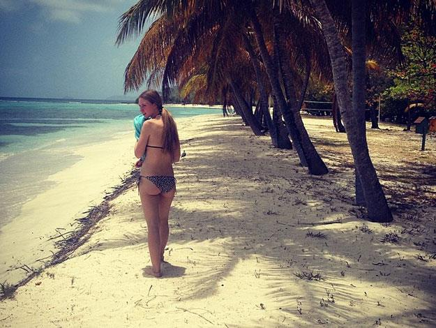 Rafferty posted this cheeky snap of a bikini-clad Ella on the beach while holidaying in Mustique.