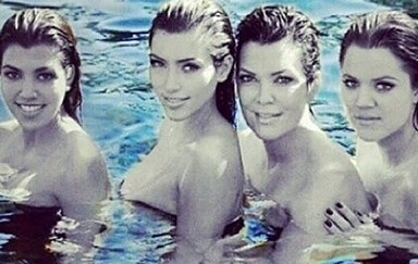 Kris Jenner posts topless selfie with daughters