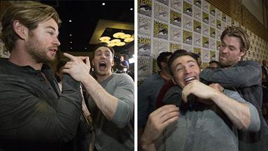 Chris Hemsworth battles Chris Evans at Comic Con